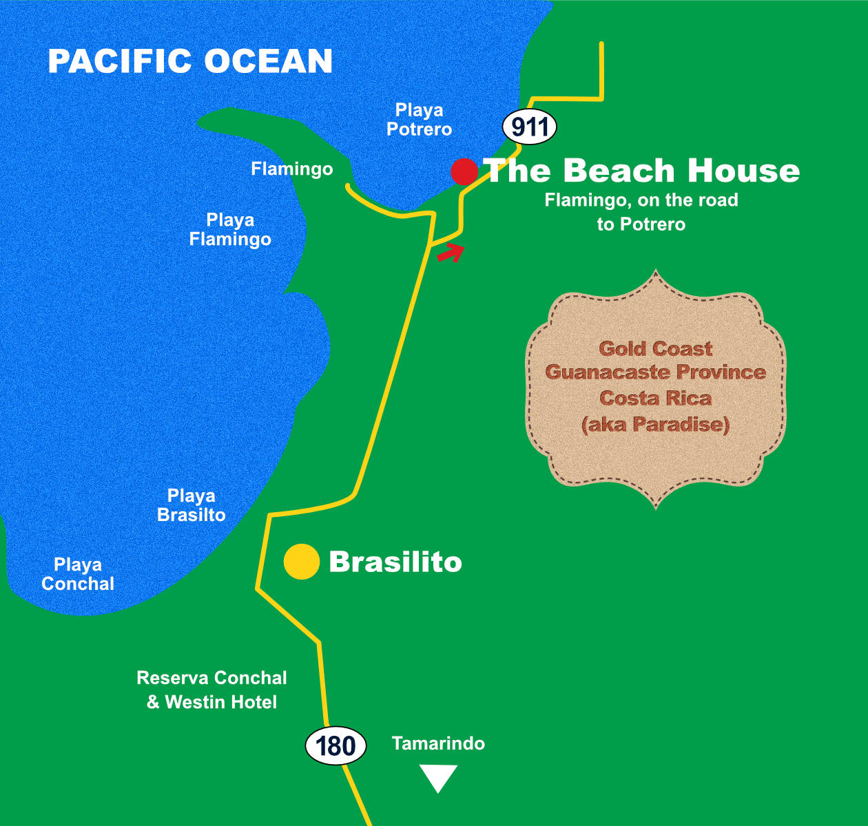 The Beach House Location Map